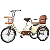 FGVDJ Three-Wheeled Bicycles 20 Inch Folding Tricycle Cargo Trike with Shopping Basket and Back Seat Cruise Cycling Bike for Adults Shopping