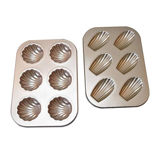 HMQCI 6 Cavity Non-Stick Madeleine Baking Pan Carbon Steel Shell Shaped Cake Tray Pack of two (Size : 2Pack)