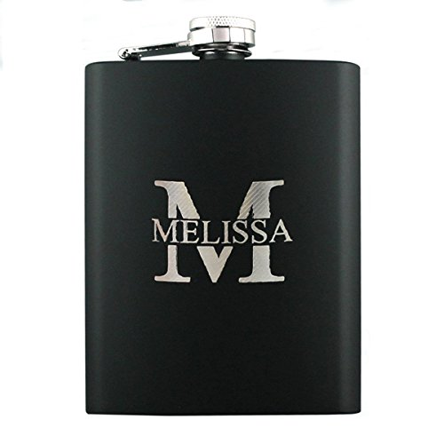 Petaca personalizada de acero inoxidable grabada con láser, regalo personalizado para cumpleaños, boda, aniversario, color negro 2