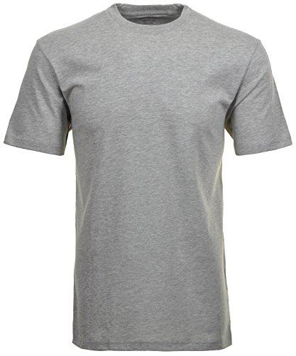 Ragman Herren Doppelpack - 2 T-Shirts mit Rundhals, Grau-Melange, L