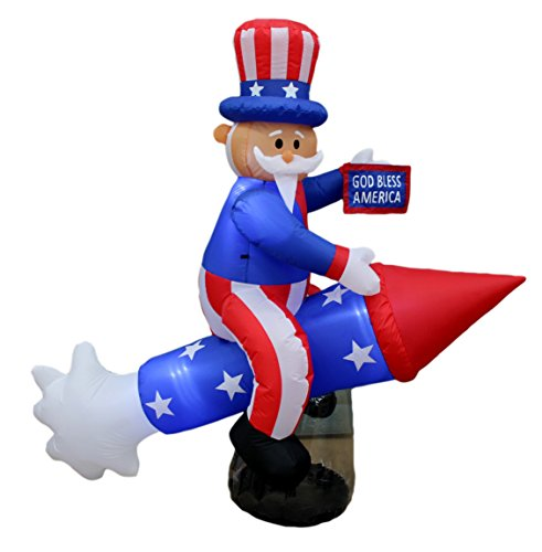 6 Foot Long Patriotic Independence Day 4th of July Inflatable Uncle Sam on Rocket LED Blow Up Lighted Decor Indoor Outdoor Holiday Art Decor Decorations