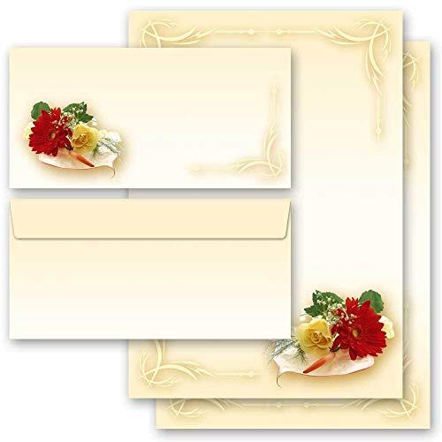 Briefpapier Set, 20 tlg. Blumen & Blüten, Liebe & Hochzeit, BLUMENBUKETT 10 Blatt Briefpapier + 10 passende Briefumschläge DIN LANG ohne Fenster | Paper-Media