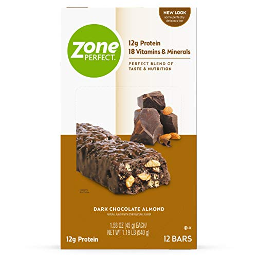 Zoneperfect Classic ZonePerfect Protein Bars, Dark Chocolate Almond, 12g of Protein, Nutrition Bars With Vitamins & Minerals, Great Taste Guaranteed, 12 Bars