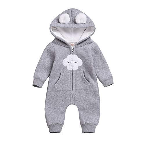 Kobay Neugeborene Baby Mädchen Warm Dicker Strampler Jumpsuit Kapuzenmäntel Outfits Baby Jungen Langarm Cloud Cartoon Bodysuit Daunen Baumwolle Kapuzen Body (0-24M)