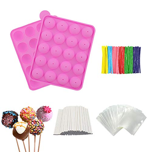 Silicone Cake Pop Maker Set, Bpa Free Ball Shaped Mold with 100 Treat Sticks+100 Parcel Bags+100 Colorful Metallic Wire for Candy, Chocolates, Cake Pops