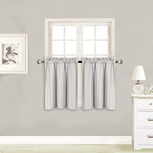 Elegant Home 2 Panels Tiers Small Window Treatment Curtain Insulated Blackout Drape Short Panel 28' W X 24' L Each for Kitchen Bathroom or Any Small Window # R16 (Silver/Grey)