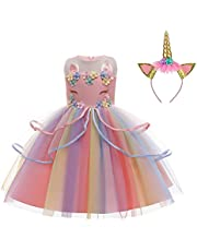 LZH Girls Unicorn Flower Dress Costume Cosplay Princess Birthday Party Dress Up