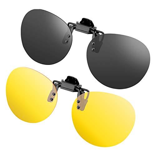 gafas de sol Clip de 2 piezas en gafas de sol polarizadas Flip Up contra luz Ideal para conducir de noche Mujeres Hombres Portadores unisex