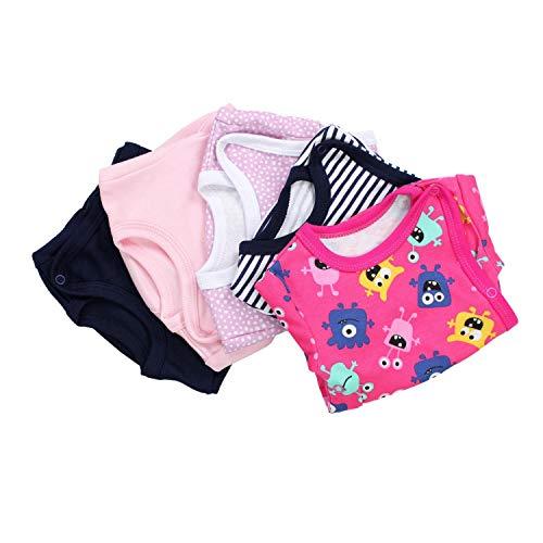 TupTam Baby Mädchen Kurzarm Wickelbody Baumwolle 5er Set, Farbe: Farbenmix 6, Größe: 62