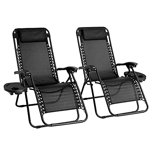 Zero Gravity Stuhl, 2 Stück, strapazierfähig, Textoline, Outdoor- und Garten-Sonnenliegen, Liegestuhl, Klappstuhl mit Getränkehalter und Kopfstütze Kissen (schwarz)