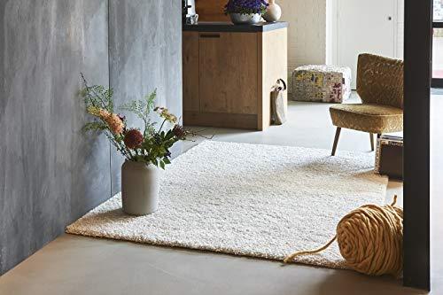 Hochflor Teppich, Shaggy Teppich, Langflor, Unifarben, flauschig & weich, fürs Wohnzimmer, Schlafzimmer oder Kinderzimmer, weiß, elfenbein, creme, 120 x 170 cm, Premium Qualität