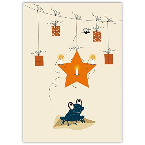 1 niedliche Weihnachtskarte: mit Frosch, Stern, Kerzen und Geschenken • als nette Weihnachts Glückwunschkarte zu Neujahr, Silvester für Familie und Firma