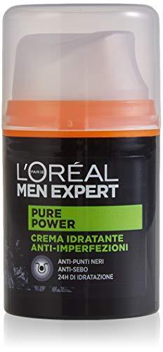 L ORÉAL Paris Men Expert Crema Viso Uomo Idratante Anti-Imperfezioni Pure Power per Pelli Secche, Ottieni una Pelle Idratata e Purificata per 24 H, 50 ml