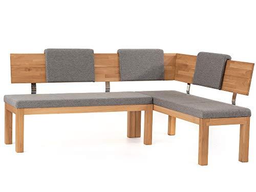 moebel-eins Salima Eckbank, Material Massivholz/Stoffbezug, Kernbuche, 208 x 171 cm, grau