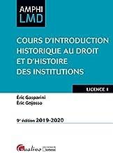 Livres Cours d'introduction historique au droit et histoire des institutions PDF