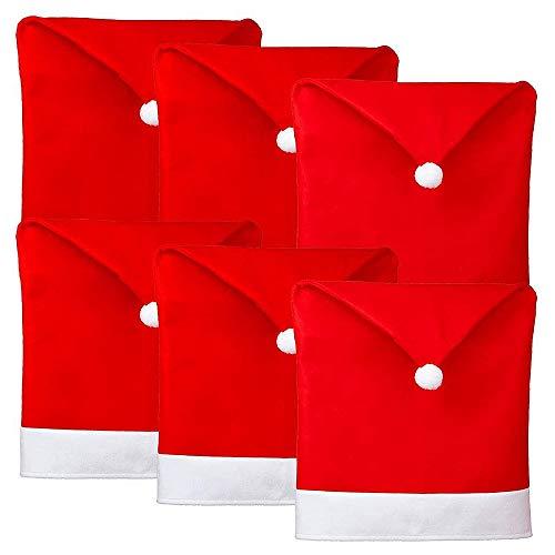 Camisin 6 piezas de fundas para sillas de Navidad, diseño de Papá Noel, color rojo