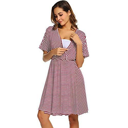 Iusun Mom Nursing Nightgown Pregnancy Gown Breastfeeding Dress