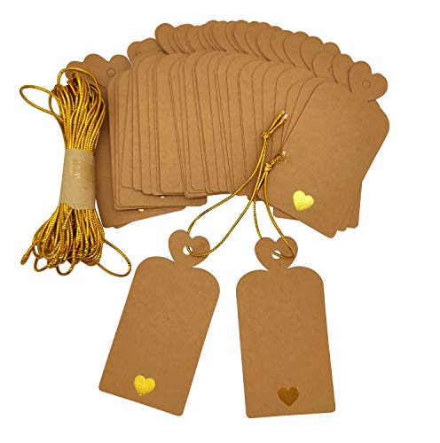 Parxara Brown Gift Tags with String Valentine's Day Kraft Tags Wedding Baby Shower Birthday with Gold Lovely Heart Large DIY Craft 36 PCS for Wedding Birthday Baby Showers Engagement(Brown)