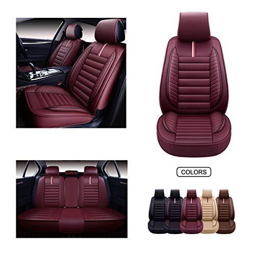 OASIS AUTO OS-001 Leather Car Seat Covers, Faux Leatherette Automotive Vehicle Cushion Cover for 5 Passenger Cars & SUV Universal Fit Set for Auto Interior Accessories (Full Set, Burgundy)