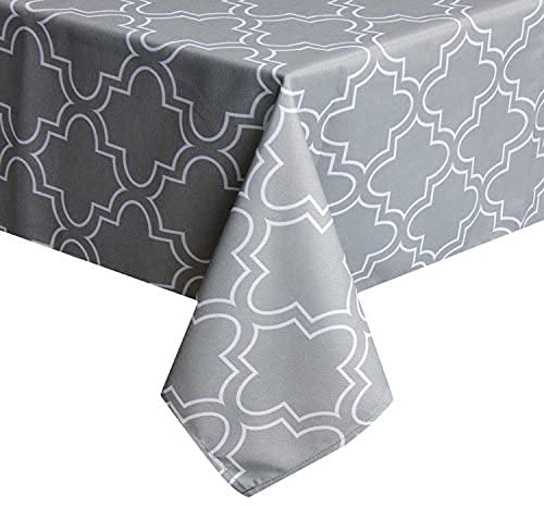 UFRIDAY Light Grey Tablecloth 60 by 120 for Rectangle Tables, Spillproof Table Cloth with Pattern Printed