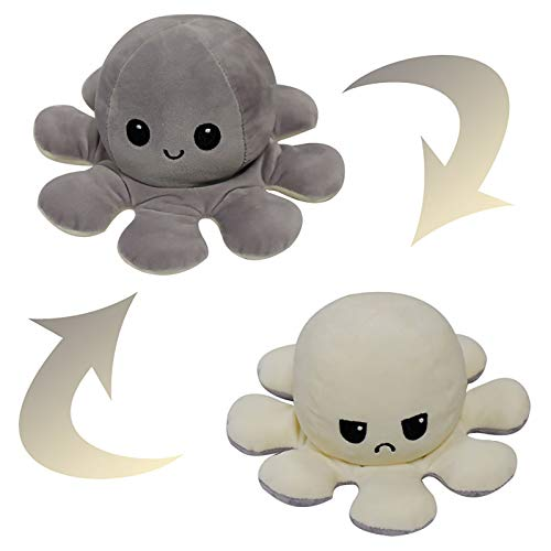 Reversible Octopus Soft Toys, doppelseitiges Flip Octopus Plüschtier, süßes Mini Octopus Kuscheltier Kreatives Spielzeug für Kinder Mädchen Jungen Freundin