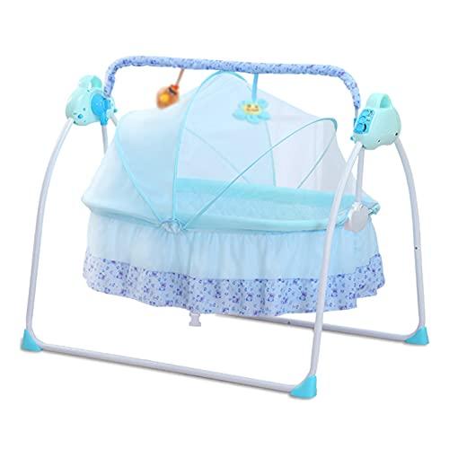 YSXFS Cunas para Bebes Completas, Cuna Eléctrica De Bebé, Cuna Plegable Cuna De Bebé con Música Incorporada De USB, Música Bluetooth Adecuada para Bebés Desde 0-36 Meses(Color:Azul)