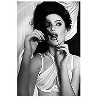 黒と白の肖像画ペネロペクルス女優ポスタープリントアートワーク壁アートキャンバス絵画リビングルーム寝室の装飾家の装飾-50x75CMフレームなし