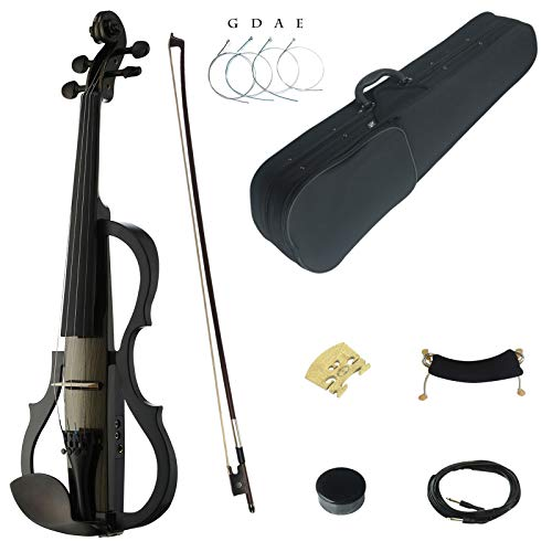 Kinglos 4/4 Farbig Massivholz Fortgeschritten 3-Band EQ Elektrische Violine Geige Set mit Ebenholz Beschläge (SDDS1603)