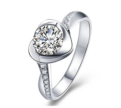 Qinlee Women Ring Heart Crystal Ring Diamond Bend Size Adjustable Open Rings Wedding Jewelry Lady Girls Birthday Gift