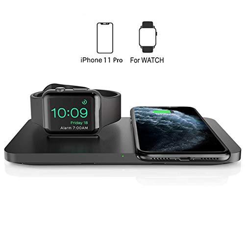 Seneo Cargador Inalámbrico Rápido -  7.5W Cargador Doméstico 2 en 1 para iPhone 8 a iPhone 11 Pro y AirPods Pro, Soporte de Carga Inalámbrico para Apple Watch Series 5/4/3/2