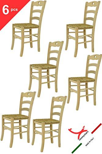 Tommychairs - Set de 6 chaises Cuore 38 pour la Cuisine, Bar et la Salle à Manger de Style Traditionnel avec Une Solide Structure en Bois de hêtre Poli et Assise en Paille, Non traité 100% Naturel