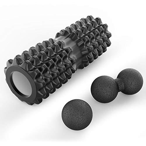 Jim´S Store 3er Faszientool Set Faszienrolle Faszienball Twinball Massageball für Yoga Training Selbstmassage von Muskeln Bindegewebe Stoffwechsel (Schwarz)
