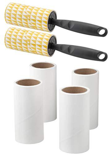 Fusselrolle BÄSTIS Fusselentferner Kleiderbürste Wäschepflege (2xHalter+6Rollen = 240 Blatt, grau)