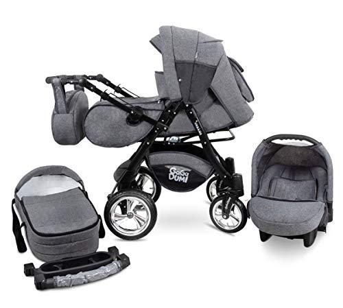 GaGaDumi Urbano Kombikinderwagen Kinderwagen Babyschale 3in1 System Autositz (U5-Denim)
