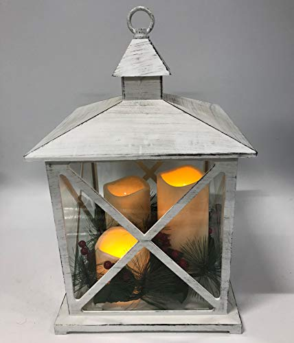 Green Pastures Wholesale 10'' X 16' White Plastic Lanterns with 3 Pillar Led Candles & Berries, Multicolor