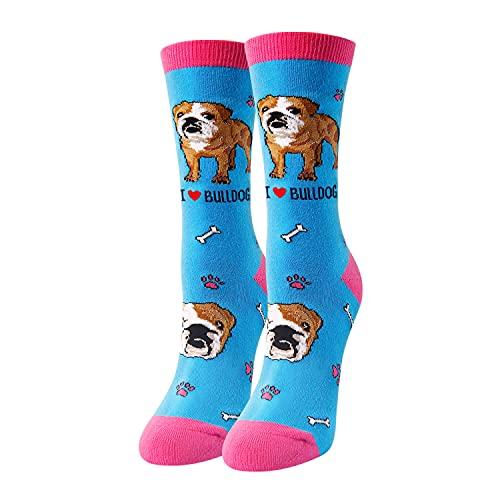 HAPPYPOP Dog Gifts Dog Mom Gifts Dog Socks, Novelty Gifts for Dog Lovers English French Bulldog Gifts French Bulldog Socks Women