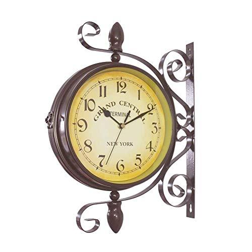 INTER FAST Reloj de pared de hierro forjado - Colgante de pared redondo Reloj de estación retro de doble cara Araña redonda Pared de balanceo Colgante lateral Reloj de pared para el hogar reloj de par