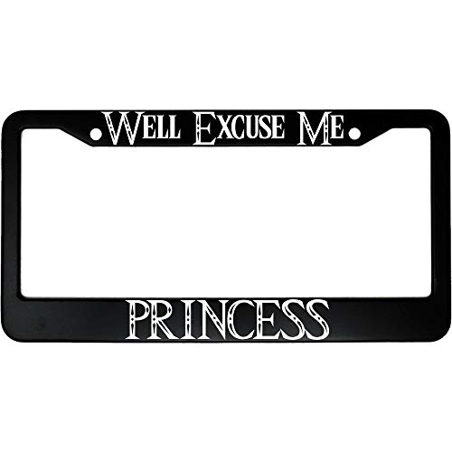 Yilooom Car Accessories, Car Licenses Plate Covers Holders For Vehicles, Well Excuse Me Princess Car License Plate Frame - 6 X 12 Inch