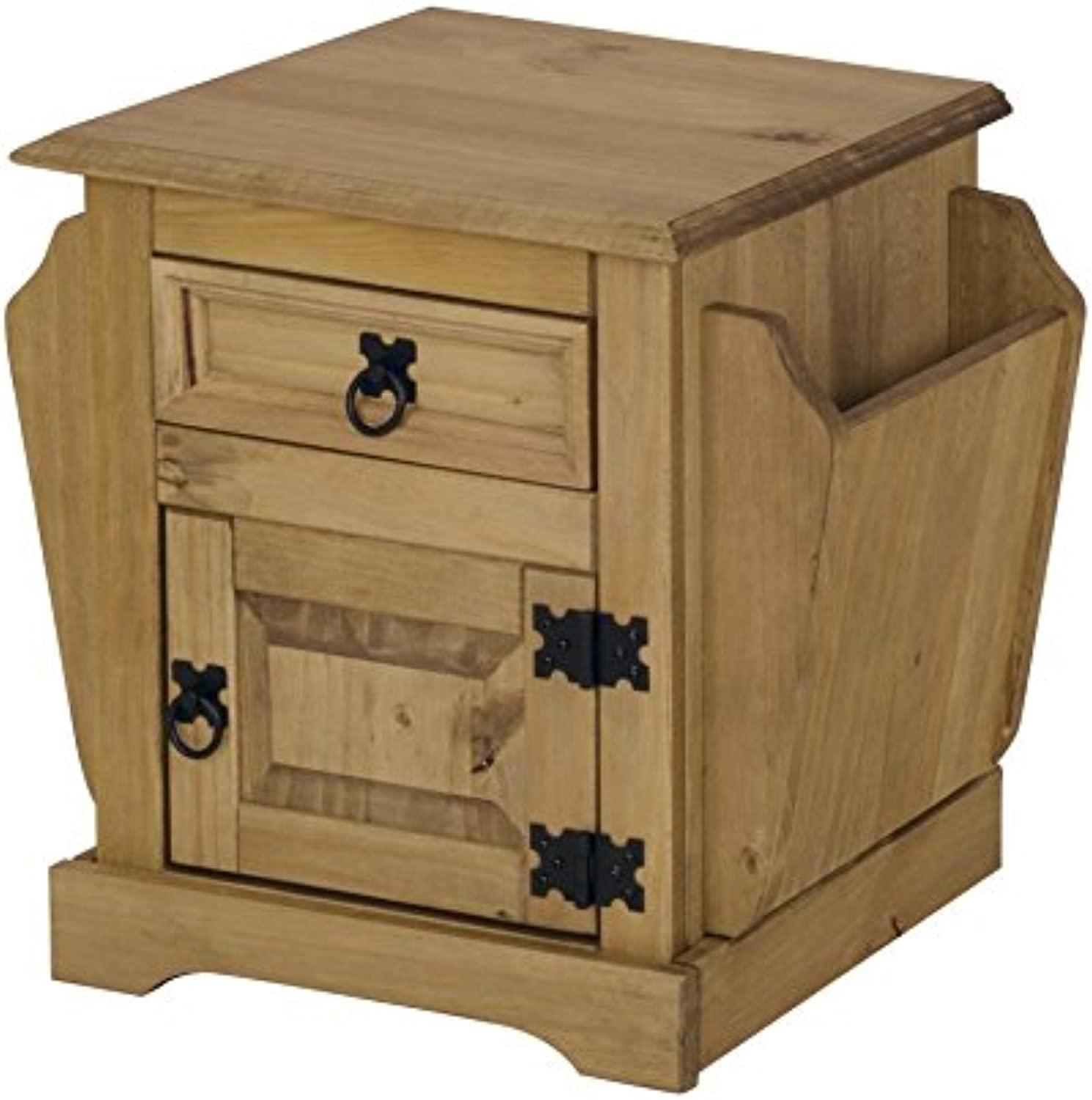 Cgoldna Mexican Solid Waxed Pine 1 Door 1 Drawer Bedside Cabinet Magazine Rack Table