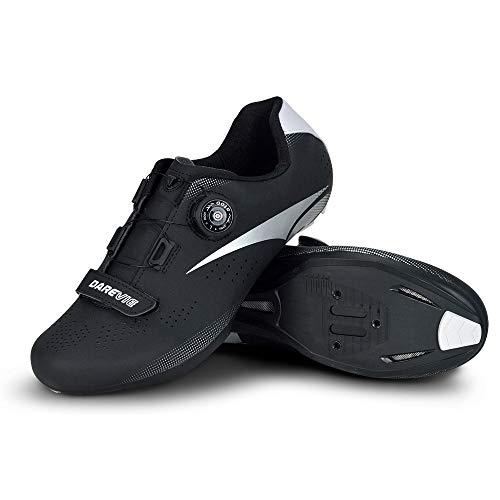 JINFAN Calzado De Ciclismo para Hombre,Calzado para Bicicleta De Carretera Calzado De Ciclismo Profesional Calzado De Carretera,Black-10UK=45EU=11US