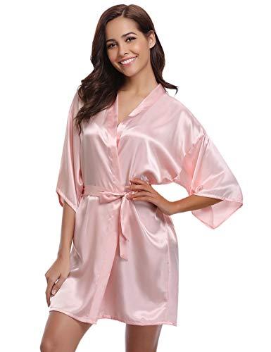 Abollria Kimono Mujer Bata para Satén Mujer Ropa de Dormir Batas Rosa,S