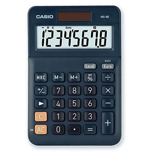 CASIO Tischrechner MS-8E, 8-stellig, Währungsumrechnung, Gummifüße, Schnellkorrekturtaste, Solar-/Batteriebetrieb