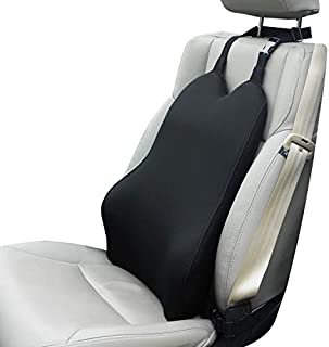 Dreamer Car Ergonomic Lumbar Support Back Cushion Designed for Back Pain Relief - Supportive and Comfortable Memory Foam Back Support Ideal Use in Car or Office Chair - Black