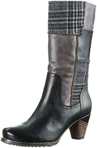Manitu 970704 - Botas altas para mujer, color Negro (Schwarz/Grau), talla 39 UE