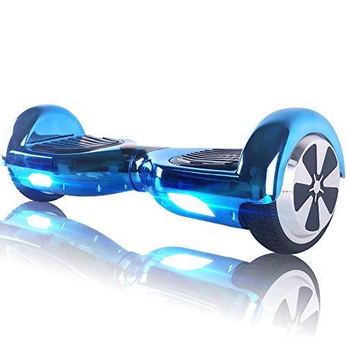 "Hoverboard Bluetooth - Enfant Super Cadeau, 6.5"" Overboard Tout Terrain Adulte Balance Board, Pas Cher LED Skateboard, Challenger Gyropode (Chrome Blue)"