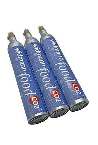 Widmann Food CO2 Zylinder im Set 3 Stück pro Packung 430 g Füllung pro Flasche passend für Soda Stream Wassermax