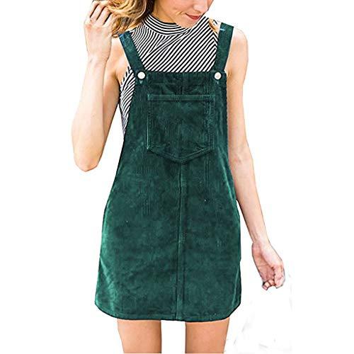 Kanpola Kleider Kanpola Kleider Damen Herbst Cord Straps Kurze Tasche gerade Weste Rock Kleid (M/Gr 38, Z-Grün)