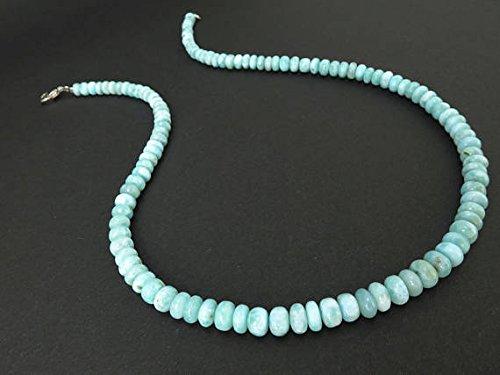 Larimar - Collana con perle larimar 42 cm, pietra Atlantide dei Caraibi, pectolite 5-6 mm