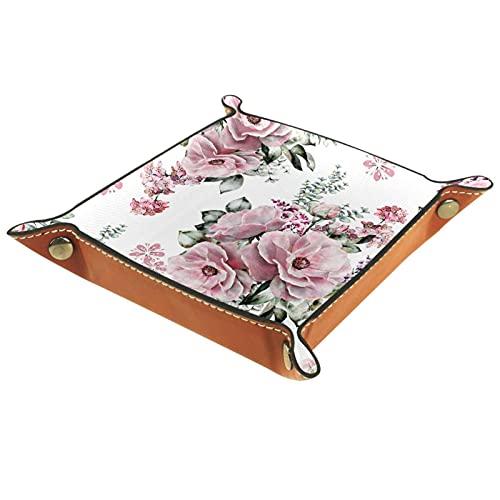 Cuero Catchall, cambio de monedero, caja de monedas, bandeja de artículos personales, valet de almacenamiento, broches de metal de latón, hogar y viajes Essentials Flores florecer rosa