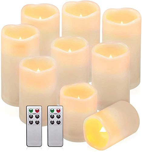 Comenzar Flameless Candles, Waterproof Outdoor Indoor Battery Candles Set of 9(H 4' 5' 6' x D 3') Led Candles with Remote Timer
